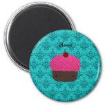 Personalized name pink glitter cupcake damask magnet