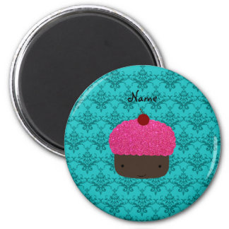 Personalized name pink glitter cupcake damask magnet