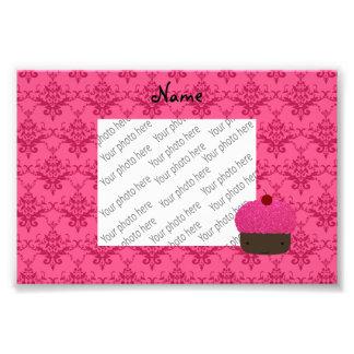 Personalized name pink glitter cupcake damask art photo