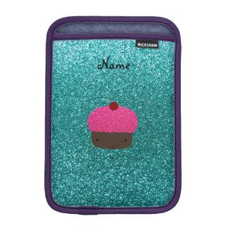 Personalized name pink glitter cupcake sleeve for iPad mini