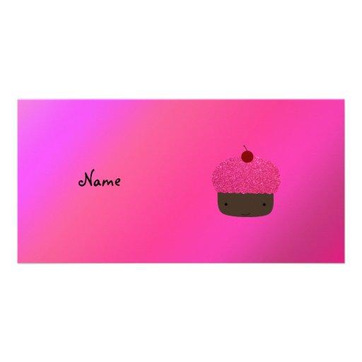 Personalized name pink glitter cupcake customized photo card
