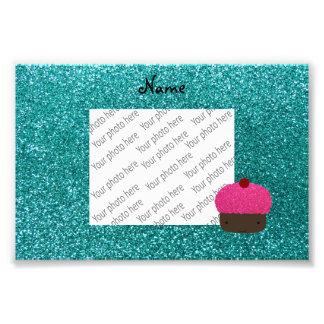 Personalized name pink glitter cupcake photo