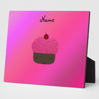 Personalized name pink glitter cupcake photo plaque