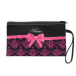 Personalized name pink glitter damask pink bow wristlet clutch