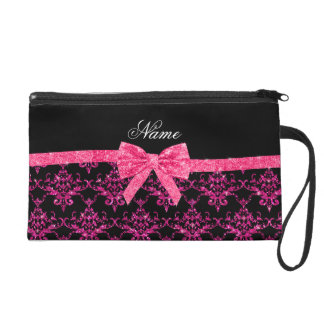 Personalized name pink glitter damask pink bow wristlet clutches