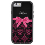 Personalized name pink glitter damask pink bow iPhone 6 case