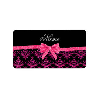 Personalized name pink glitter damask pink bow address label