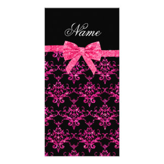 Personalized name pink glitter damask pink bow photo card