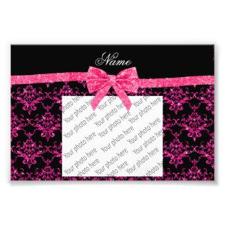 Personalized name pink glitter damask pink bow photo art