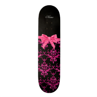 Personalized name pink glitter damask pink bow skate boards