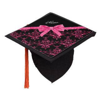Personalized name pink glitter damask pink bow graduation cap topper