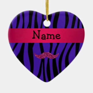 Personalized name pink glitter mustahce christmas tree ornament