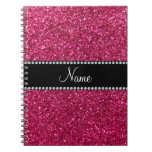 Personalized name pink glitter notebook