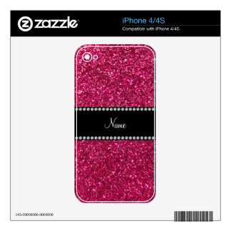 Personalized name pink glitter skin for iPhone 4