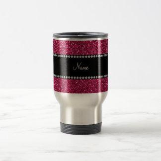 Personalized name pink glitter travel mug