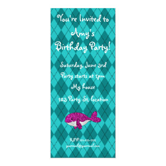 Personalized name pink glitter whale argyle custom invite