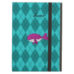 Personalized name pink glitter whale argyle iPad cases