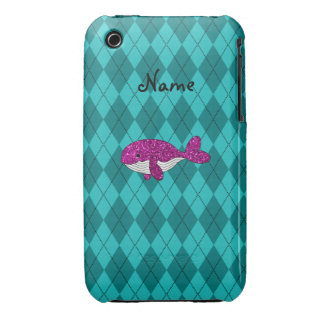 Personalized name pink glitter whale argyle iPhone 3 cover