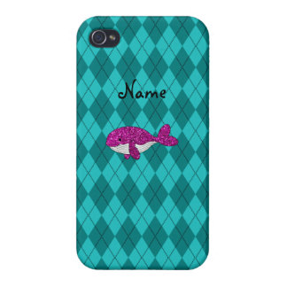 Personalized name pink glitter whale argyle iPhone 4/4S case