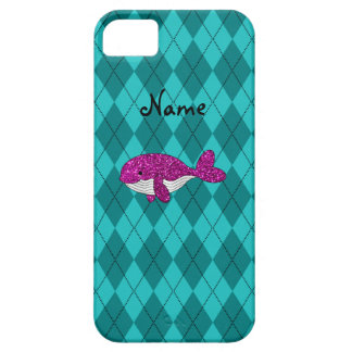 Personalized name pink glitter whale argyle iPhone 5 cover