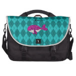 Personalized name pink glitter whale argyle laptop computer bag
