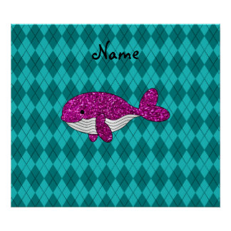 Personalized name pink glitter whale argyle poster