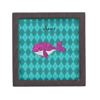 Personalized name pink glitter whale argyle premium jewelry boxes