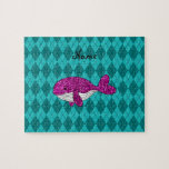 Personalized name pink glitter whale argyle puzzles