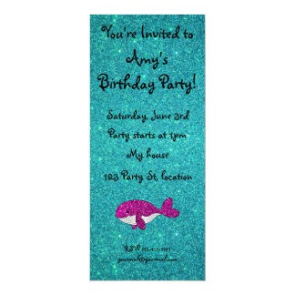 Personalized name pink glitter whale turquoise invites