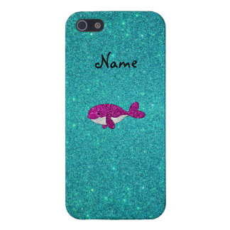 Personalized name pink glitter whale turquoise iPhone 5/5S case