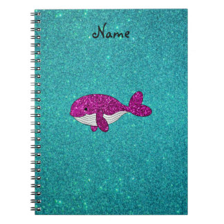 Personalized name pink glitter whale turquoise notebook