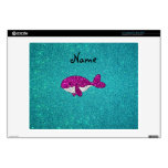 Personalized name pink glitter whale turquoise laptop skins