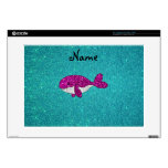"""Personalized name pink glitter whale turquoise skin for 15"""" laptop"""