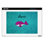 Personalized name pink glitter whale turquoise skin for acer chromebook