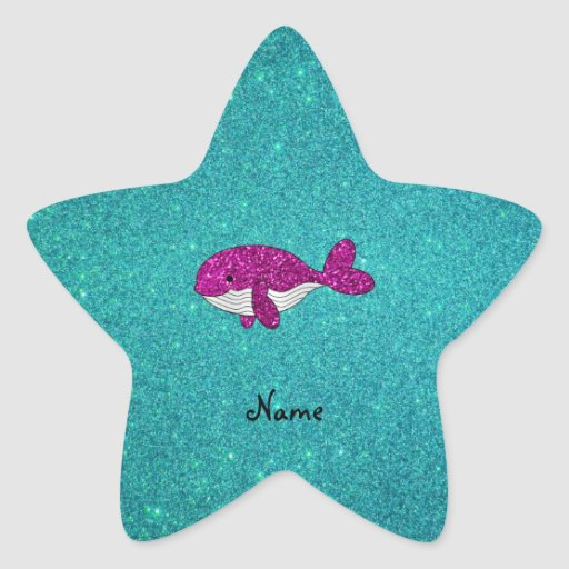 Personalized name pink glitter whale turquoise star sticker