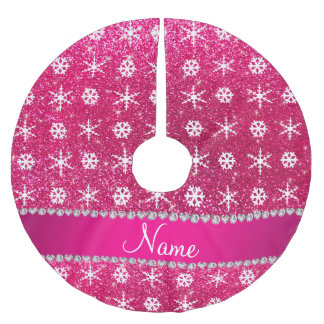 personalized name pink glitter white snowflakes brushed polyester tree skirt - Pink Christmas Tree Skirt
