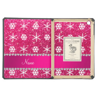 Personalized name pink glitter white snowflakes iPad air covers
