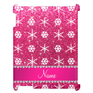 Personalized name pink glitter white snowflakes iPad covers