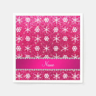 Personalized name pink glitter white snowflakes disposable napkin