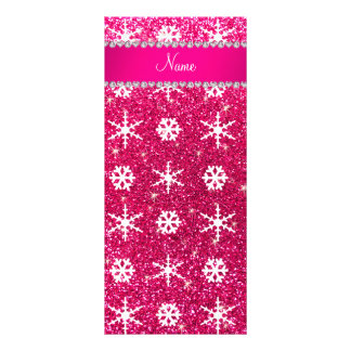 Personalized name pink glitter white snowflakes rack card
