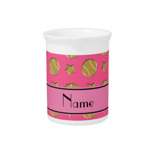 Personalized name pink gold baseballs stars beverage pitcher