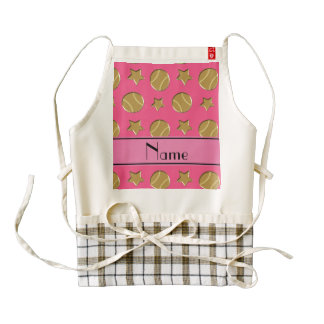 Personalized name pink gold baseballs stars zazzle HEART apron