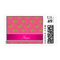 Personalized name pink gold hearts mom love postage stamps