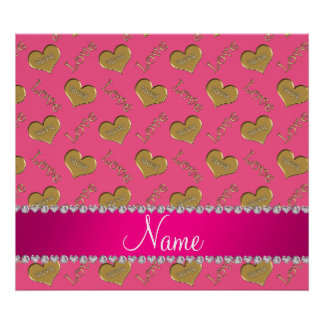 Personalized name pink gold hearts mom love poster