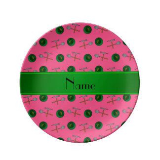 Personalized name pink gold mining porcelain plate