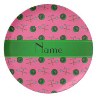 Personalized name pink gold mining party plate
