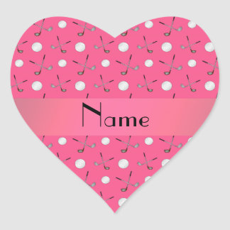 Personalized name pink golf balls heart sticker