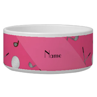 Personalized name pink golf balls pet water bowl