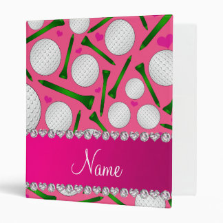 Personalized name pink golf balls tees hearts binder