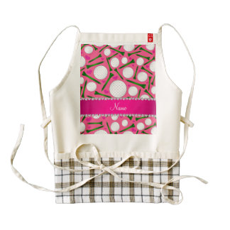 Personalized name pink golf balls tees hearts zazzle HEART apron